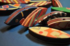 Patterned Leaf Beads - close up by Page's Creations, via Flickr