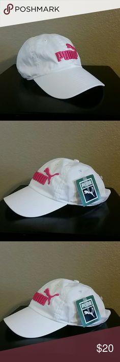 Puma hat Puma hat, white-pink, adjustable, baseball cap, athletic hat Puma Accessories Hats