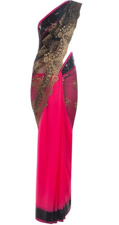 Fuschia and two toned black chantilly lace sari by VARUN BAHL