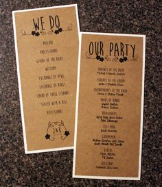 Rustic Wedding Programs  Vertical Country Chic by watermelonista, $4.00