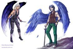 this one took me long time ;P characters from Guild Hunter series - Elena and Ilium.Next time - Elena with Raphael (in far future). Someday I draw another boys from Raphael's Seven, too. Vampires, Nalini Singh, Angels Blood, Books To Read In Your 20s, Far Future, Fan Art, Paranormal Romance, Illustrations, Book Characters