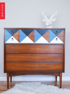 Dresser Gets A Perky Pattern | Apartment Therapy + interesting technique for adding the pattern.