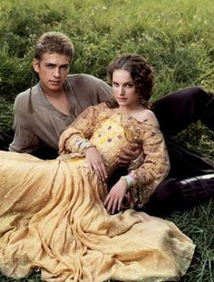 Natalie Portman and Hayden Christensen as Amidala and Anakin in the picnic scene from 'Attack of the Clones' (2002). Costume design by Trisha Biggars.