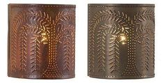 PUNCHED TIN SCONCE LIGHT Handcrafted Country Willow Tree Pattern Primitive Wall Lamp Made in USA