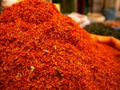 Mound of Saffron for Sale in Bazaar Shiraz, Fars, Iran