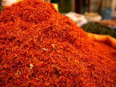 Mound of Saffron for Sale in Bazaar Shiraz, Fars, Iran