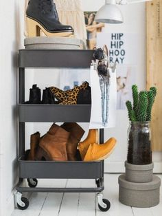 use the cart to hold shoes by the door then wheel into the closet when needed