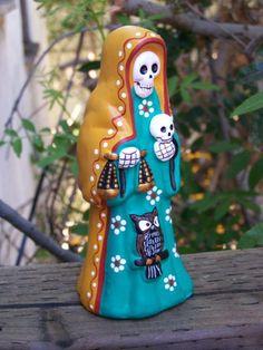 Beautiful La Santa Muerte figurine, handmade in Peru