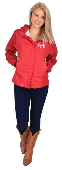 Monogrammed Colorblock Rain Jacket