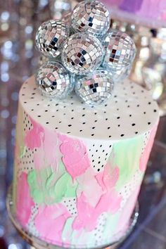 Disco ball cake by Frosted by Nicci (the lights light up) a Floral Disco Party by Little big company on Kara's Party Ideas | KarasPartyIdeas.com (22)