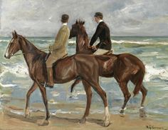 Max Liebermann, Two Horse rider on the Beach, antique decor, Art Canvas Edgar Degas, Pierre Auguste Renoir, Claude Monet, Paul Cezanne, Monument Men, Found Art, Cornelius, Manet, First Art