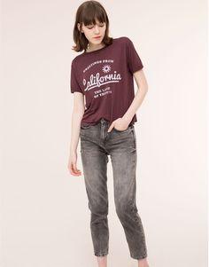 Pull&Bear - dames - t-shirts en tops - t-shirt met print en korte mouw - granaat - 09242344-I2015