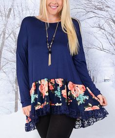 This Navy & Pink Floral-Hem Scoop Neck Tunic - Plus is perfect! #zulilyfinds