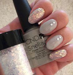 CND Shellac on natural nail. Cityscape with Lecenté Multi Glitz glitter and rhinestone. Unicorn And Glitter, Shellac Nails, Natural Nails, Fingers, Polish, Varnishes, Manicure, Nail Polish, Nail