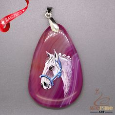 STONE  NECKLACE HAND PAINTED HORSE GEMSTONE PENDANT BEAD ZL8010663 #ZL #Pendant