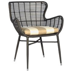 Palermo Indoor/Outdoor Espresso Chair @Zinc_Door  See look of stripped gold upholstery - use for window treatment?