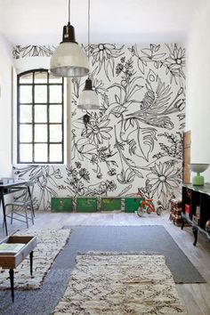 Hand Drawn Flowers: Grab some Sharpies, release your inner Monet and have fun drawing some summer blossoms. (via Wall + Deco) wall painting 30 Eye-Catching Wall Murals to Buy or DIY Diy Wand, Deco Originale, Home And Deco, Minimalist Decor, Minimalist Kitchen, Minimalist Interior, Minimalist Bedroom, Modern Minimalist, My New Room