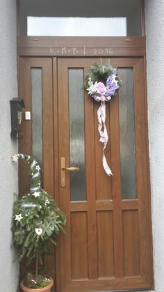 Christmas door, decorations,  tree, house, xmass