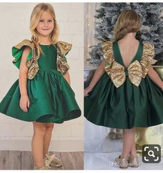 Emerald Green Flower Girls Dresses With Bow Knot Sequins Backless Satin Girls Pageant Gowns Knee Length Sleeveless First Communion Wear Girls Occasion Dresses, Girls Pageant Dresses, Gowns For Girls, Pageant Gowns, Flower Girls, Bohemian Flower Girl Dress, Green Flower Girl Dresses, Baby Frocks Designs, Little Girl Outfits
