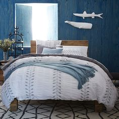 Wish I could change my dark blue bedroom walls but that won't be happening for a while.  Maybe some new bedding then?!