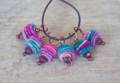 Copper Wire Wrapped Bead Drop Dangle. Fabric by jimenastreasures