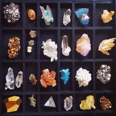 The black trays really set off the colors/luster of the specimens. Would be cool to do a box just for quartzes, another just for calcites, another for sulpher minerals, etc.