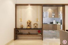Locally available pooja room units don't come with storage options. Check out these custom-made designs that accommodate pooja samagri too. Pooja Room Design, Room Design, Pooja Rooms, Hall Interior, Living Room Diy, House Interior, Room Door Design, House Interior Decor, Pooja Room Door Design