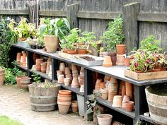 A lot of pots potting shed дача Love Garden, Garden Pots, Home And Garden, Garden Sheds, Dream Garden, Potting Tables, Potting Sheds, Garden Structures, Garden Projects
