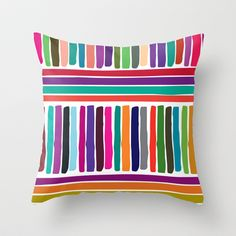 colorful stripes Throw Pillow by aticnomar - Surface Design, Tech Accessories, Pattern Design, Sweet Home, Stripes, Throw Pillows, Art Prints, Inspiration, Colorful
