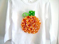 Frayed  Pumpkin Shirt Halloween or Thanksgiving by bubbaandlulu, $17.00