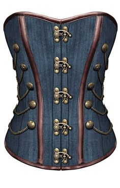 New Denim Steampunk Inspired Corset https://www.theburgandyboudoir.com/Denim-Overbust-Corset_p_350.html | The House of Beccaria