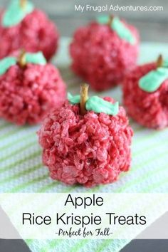 Easy fall treat idea-- Rice Krispies Apples.  So fun for the start of school too!