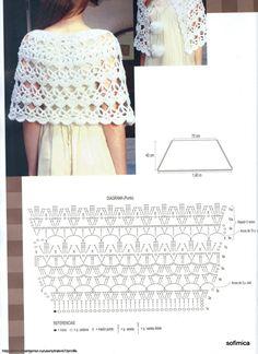 No Pattern (Pic Graph). Crocheted Shawl.