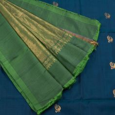 Venkie Reddy Sherpa Blue Handwoven Gadwal Silk Saree with Zari Border & Peacock Motifs 10002140 - profile - AVISHYA.COM