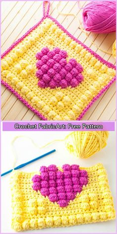 Crochet Bobble Heart Pot Holder Free Pattern - Crochet News Crochet Bobble Heart Pot Holder will definitely bring some heat to the kitchen. Let this bright and bubbly potholder sizzle its way into your kitchen! Crochet Bobble, Crochet Potholder Patterns, Bobble Stitch, Crochet Dishcloths, Crochet Squares, Crochet Motif, Crochet Yarn, Easy Crochet, Crochet Birds