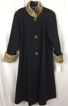 a87b8cd488 Vintage 80 s Russell Scott Black Wool Faux Fur Leopard Retro Style Swing  Coat L