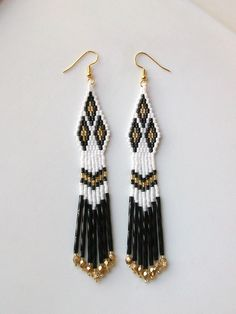 Southwest Triple Diamond Beaded Earrings - Black, White and Gold. #beadwork