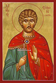 Ο Άγιος Σόλων (Σολόχων) ο Μάρτυς; Saint Solon (Solochon) the Martyr; Church Icon, Church Interior, Byzantine Icons, Religious Art, Holi, Saints, Prayers, Painting, Fictional Characters