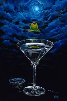 "Michael Godard has taken the art world by. ""Classic Martini"" by Michael Godard ""Bat Tini"" by Michae. Pictures To Paint, Art Pictures, Godard Art, Duck Art, Wine Art, Soul Art, In Vino Veritas, Art World, Feng Shui"