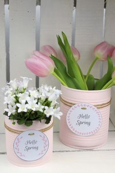 DIY recycling craft idea: flowerpot from a tin .-DIY Recycling Bastelidee: Blumentopf aus einer Konservendose basteln DIY recycling craft idea: flowerpot from a tin in a soft pink + free label: DIY… Upcycled Crafts, Upcycled Home Decor, Diy And Crafts, Crafts For Kids, Rock Crafts, Homemade Crafts, Summer Crafts, Spring Decoration, Decoration Bedroom