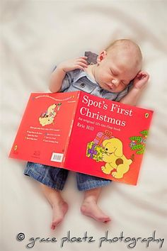 fell asleep reading: first Christmas picture