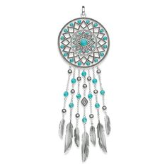 THOMAS SABO pendant from the Sterling Silver Collection. Beautiful as a dream: The imaginative dreamcatcher pendant made of blackened 925 Sterling silver, imitation turquoise and white zirconia pavé is a statement piece to accompany every Boho style. The ornamentation and jewellery colour are inspired by cultural items of jewellery. [Artikeltabelle]Category:pendant Material:925 sterling silver, blackened Stones:simulated turquoise, zirconia white pavé Clasp:eyelet Measurements:size approx…