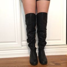 Black thigh high boots Worn once, black thigh high winter boots, comfortable, great conditions Shoes Over the Knee Boots