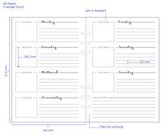 Kalendereinlage Wochenplaner 1W2S für Kalender Filofax etc.