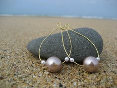 WA  Champagne Glass Pearl Kidney Shaped Ear Wire Earring by beauki