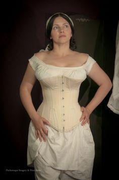 Mid Victorian corset in cotton drill, by Prior Attire