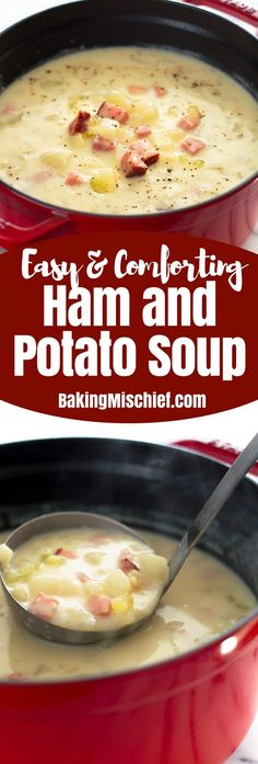 ham and potato soup is an easy, fast, and low-calorie dinner and one of my favorite busy weeknight meals. From Healthy ham and potato soup is an easy, fast, and low-calorie dinner and one of my favorite busy weeknight meals. Crock Pot Recipes, Crock Pot Soup, Healthy Soup Recipes, Cooking Recipes, Easy Crockpot Potato Soup, Cooking Games, Healthy Meals, Ham And Potato Soup, Ham Soup