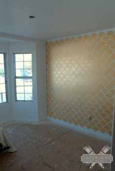 Gold Scallop Accent Wall