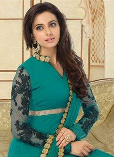 #RakulPreetSingh #Green & #Black Mesmerizing Faux Georgette Based #Suit