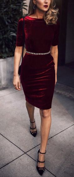 Classic velvet pencil dress for the holidays